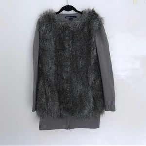 FRENCH CONNECTION Faux Fur zip Sweater